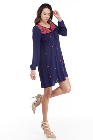 illa illa: Tencel Me Pretty Dress in Navy
