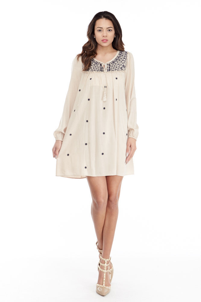 Umgee: Embroidered Lace Up Peasant Dress in Taupe - Good Row Clothing  - 1