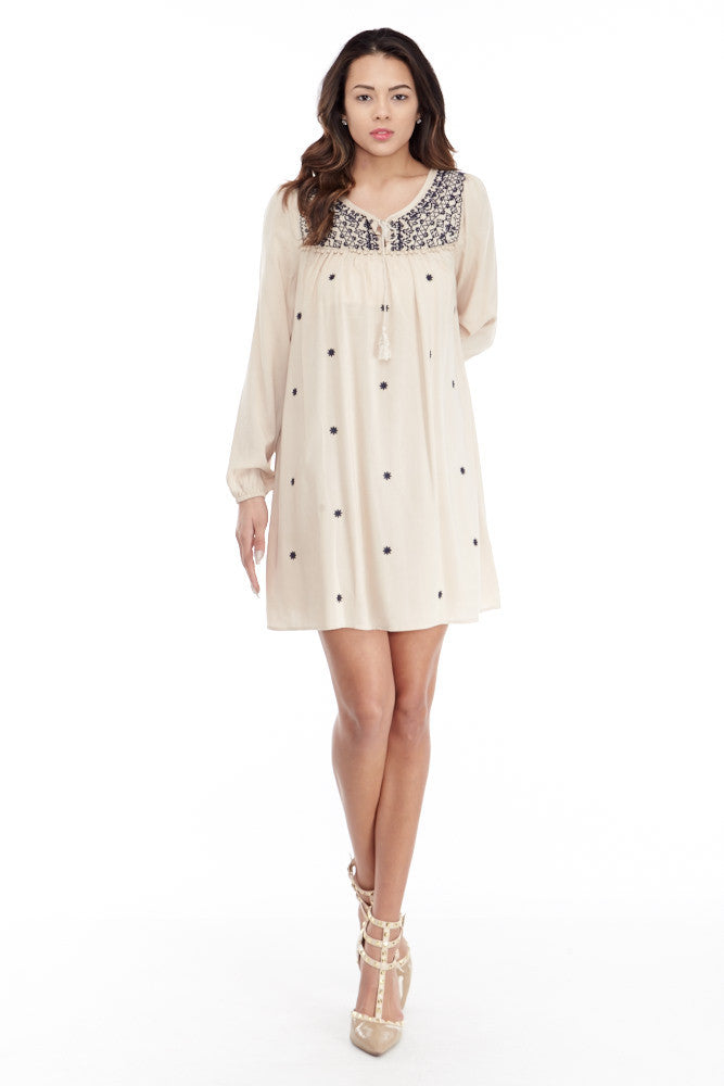 Umgee: Embroidered Lace Up Peasant Dress in Taupe - Good Row Clothing  - 5