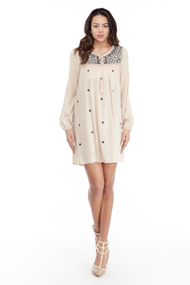 Umgee: Embroidered Lace Up Peasant Dress in Taupe - Good Row Clothing  - 2
