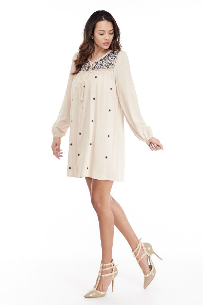 Umgee: Embroidered Lace Up Peasant Dress in Taupe - Good Row Clothing  - 3