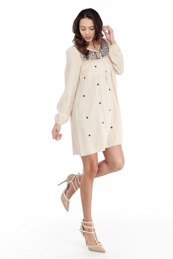 Umgee: Embroidered Lace Up Peasant Dress in Taupe - Good Row Clothing  - 4