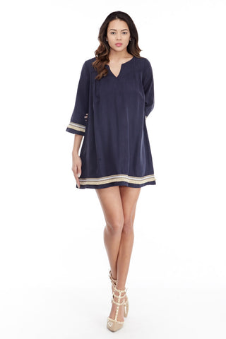 illa illa: Tencel Me Pretty Dress in Navy - Good Row Clothing  - 1