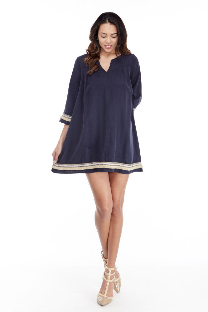 illa illa: Tencel Me Pretty Dress in Navy - Good Row Clothing  - 2