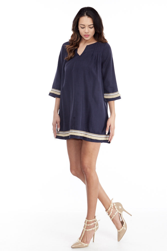 illa illa: Tencel Me Pretty Dress in Navy - Good Row Clothing  - 3