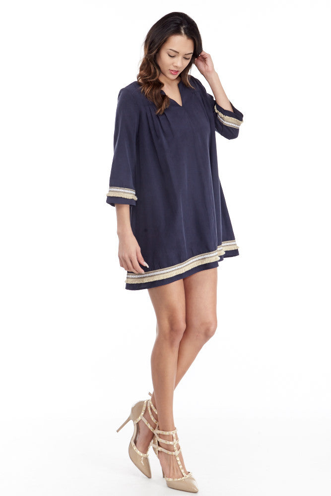 illa illa: Tencel Me Pretty Dress in Navy - Good Row Clothing  - 4