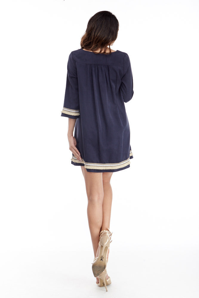 illa illa: Tencel Me Pretty Dress in Navy - Good Row Clothing  - 5
