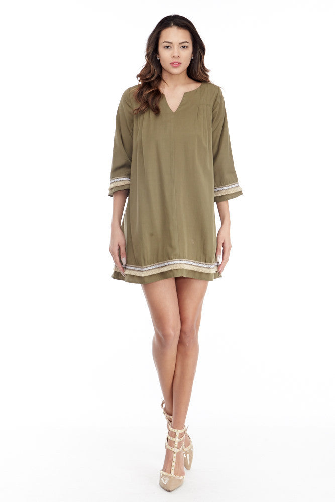 illa illa: Tencel Me Pretty Dress in Olive - Good Row Clothing  - 3