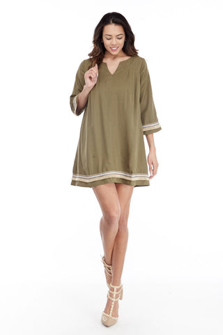 illa illa: Tencel Me Pretty Dress in Olive - Good Row Clothing  - 1