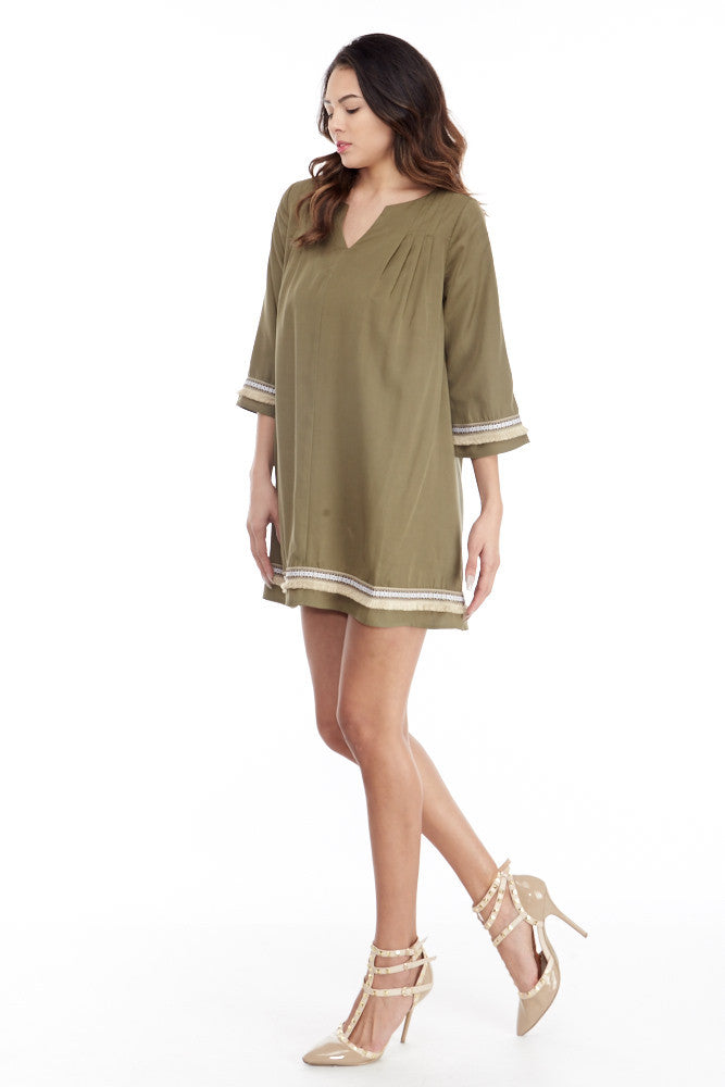 illa illa: Tencel Me Pretty Dress in Olive - Good Row Clothing  - 5