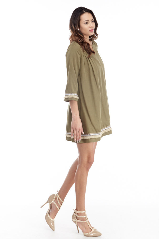 illa illa: Tencel Me Pretty Dress in Olive - Good Row Clothing  - 6
