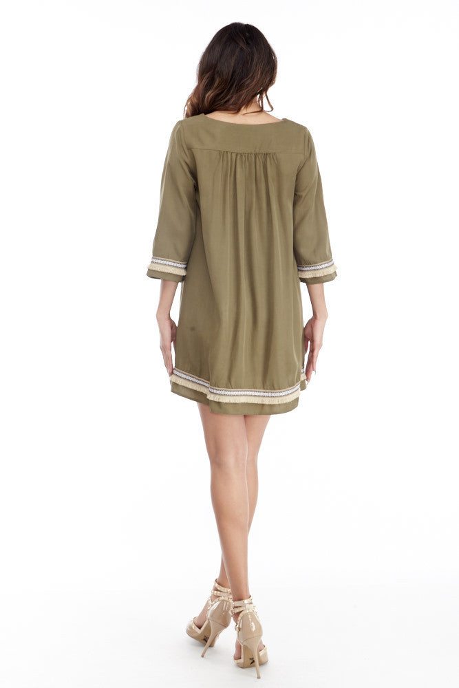 illa illa: Tencel Me Pretty Dress in Olive - Good Row Clothing  - 7