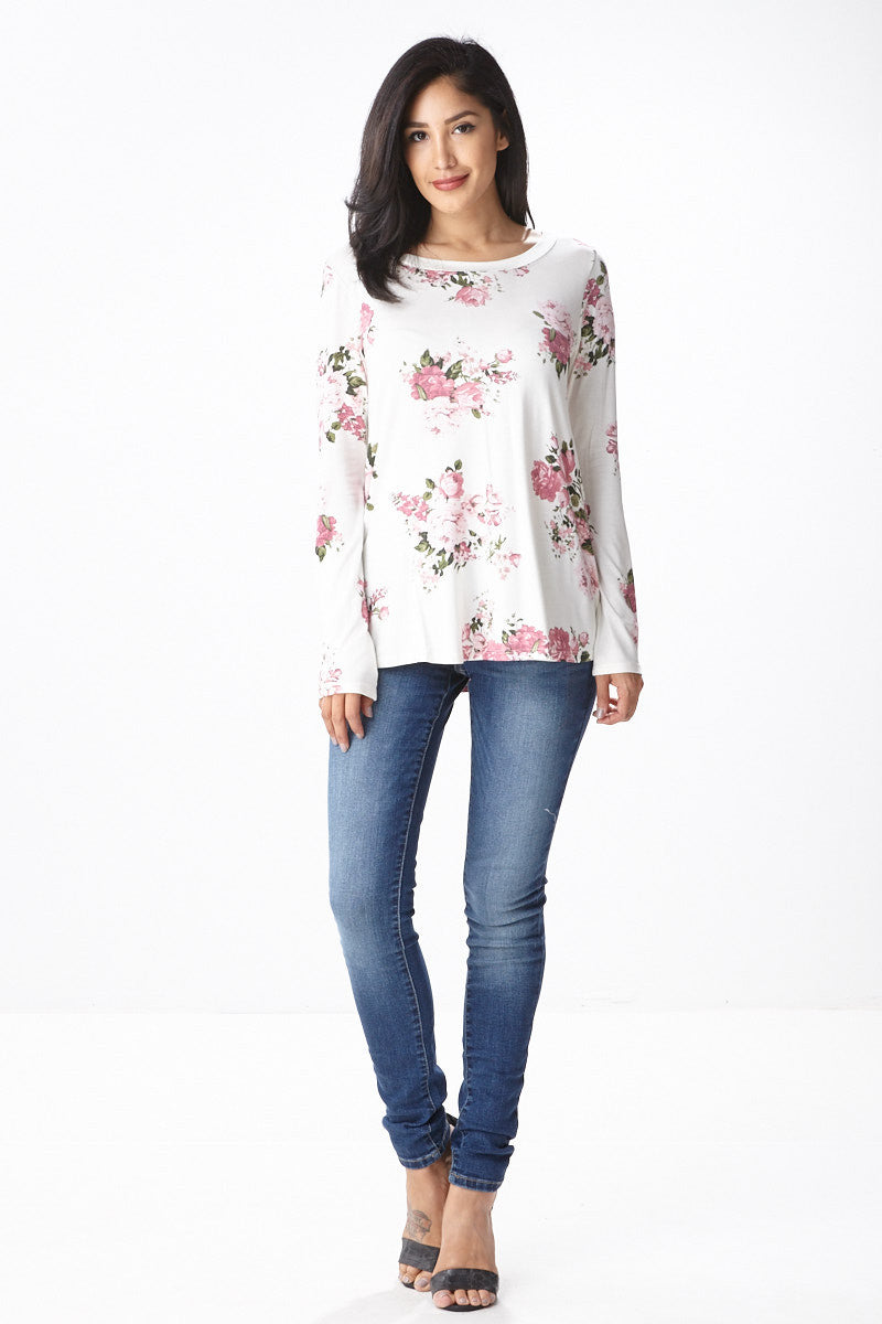 Sweet Bloom Long Sleeve Tee in Ivory - Good Row Clothing  - 5