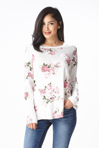 Sweet Bloom Long Sleeve Tee in Ivory - Good Row Clothing  - 1
