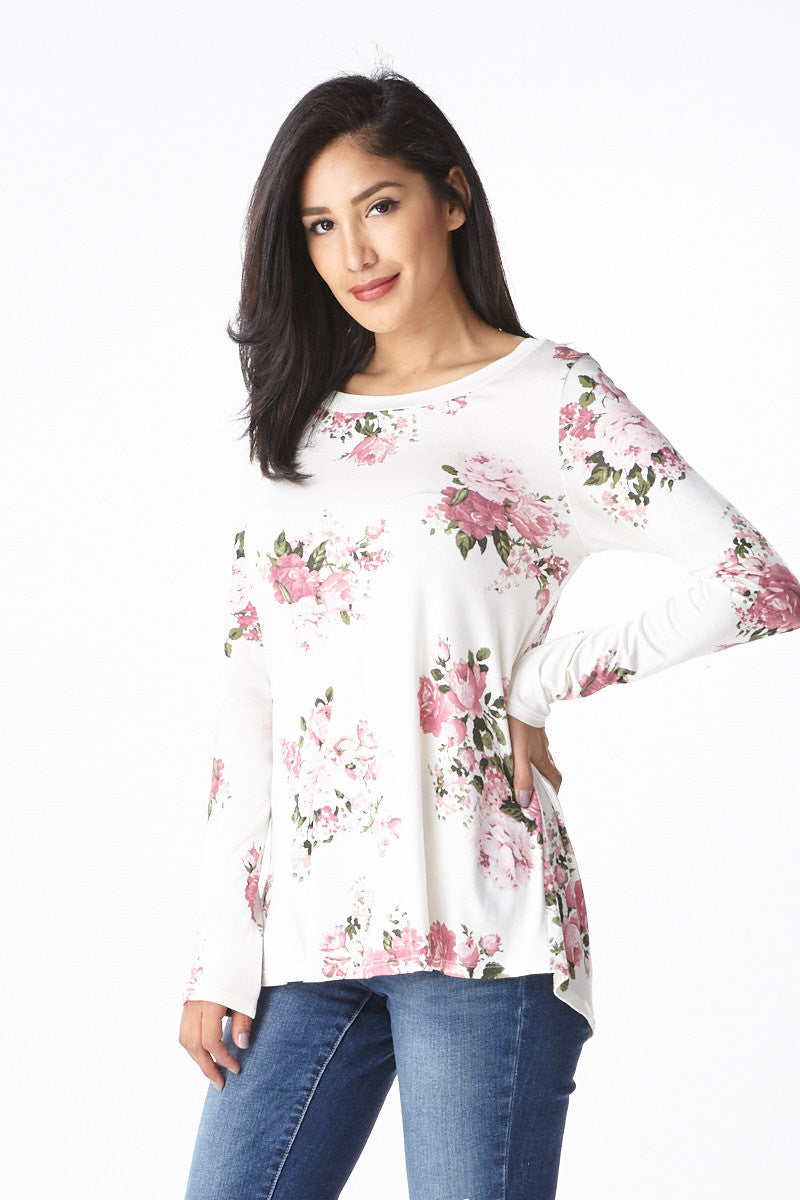 Sweet Bloom Long Sleeve Tee in Ivory - Good Row Clothing  - 4