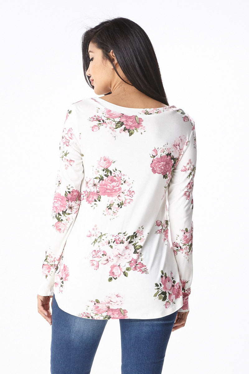 Sweet Bloom Long Sleeve Tee in Ivory - Good Row Clothing  - 3