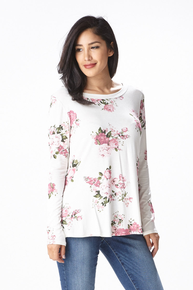 Sweet Bloom Long Sleeve Tee in Ivory - Good Row Clothing  - 2