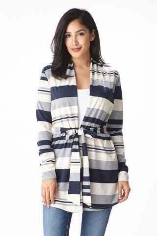 Sofie Striped Cardigan in Navy - Good Row Clothing  - 1
