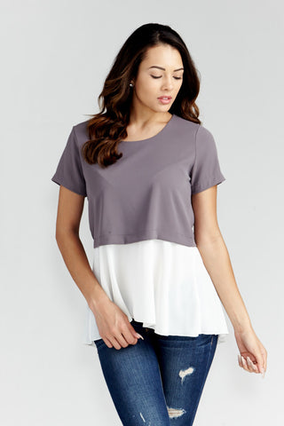 Le Lis: Colorblock Woven Tunic in Slate - Good Row Clothing  - 1