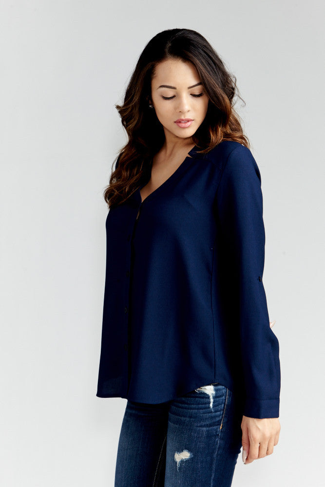 DAZZ: Modern Artist V-Neck Blouse in Navy - Good Row Clothing  - 3