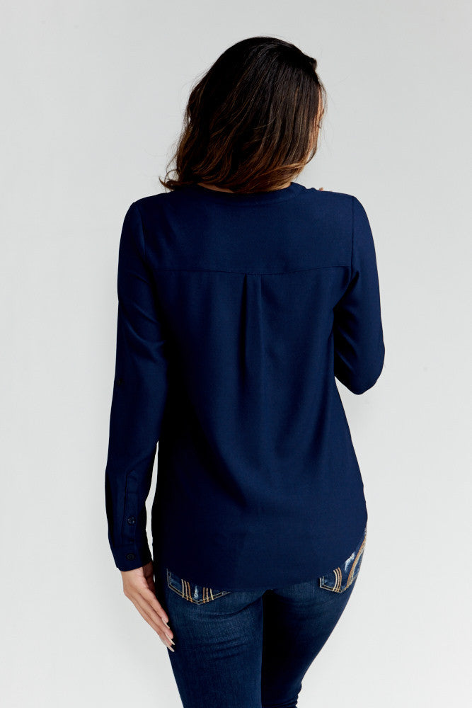DAZZ: Modern Artist V-Neck Blouse in Navy - Good Row Clothing  - 4