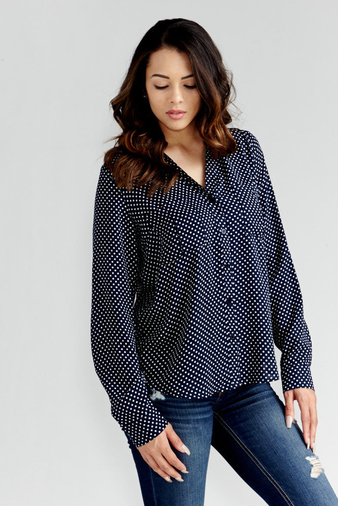 DAZZ: Polka Dot Office Blouse in Navy - Good Row Clothing  - 1