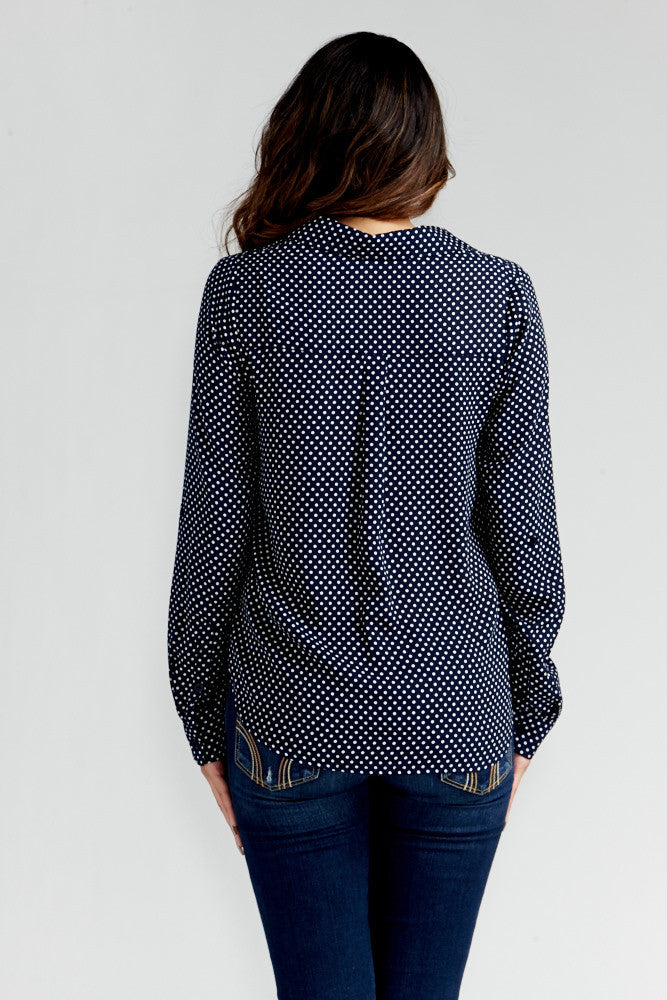 DAZZ: Polka Dot Office Blouse in Navy - Good Row Clothing  - 6