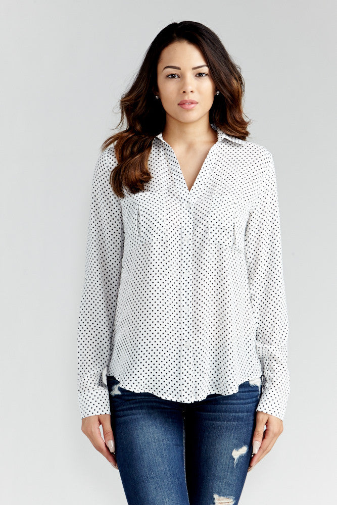 DAZZ: Polka Dot Office Blouse in White - Good Row Clothing  - 2
