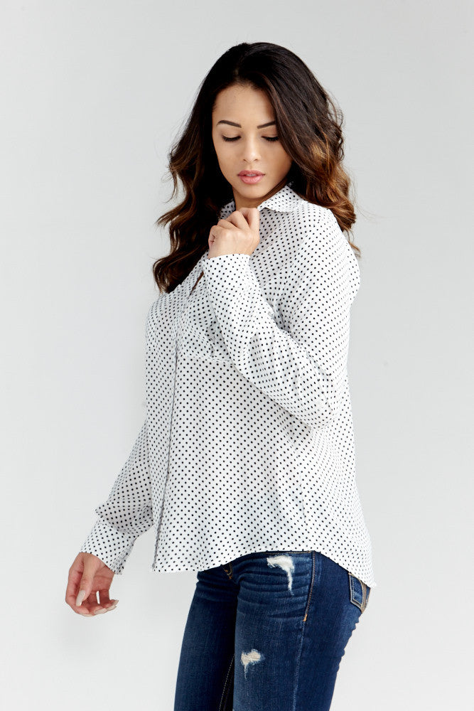 DAZZ: Polka Dot Office Blouse in White - Good Row Clothing  - 4