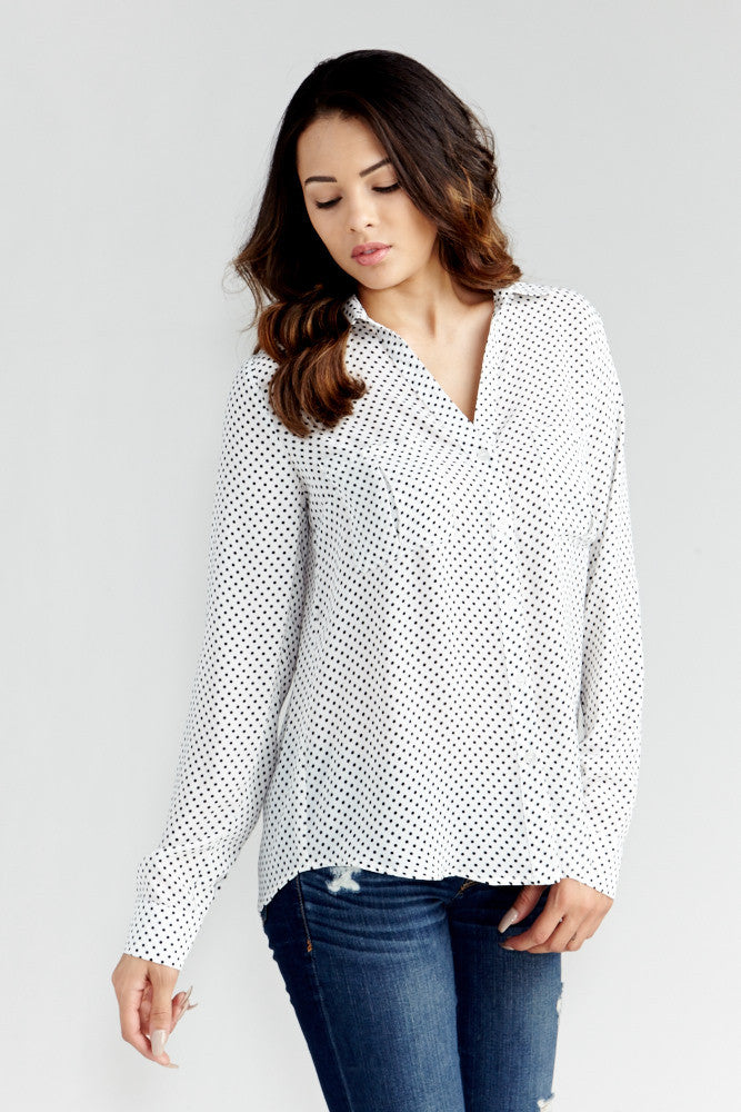 DAZZ: Polka Dot Office Blouse in White - Good Row Clothing  - 5