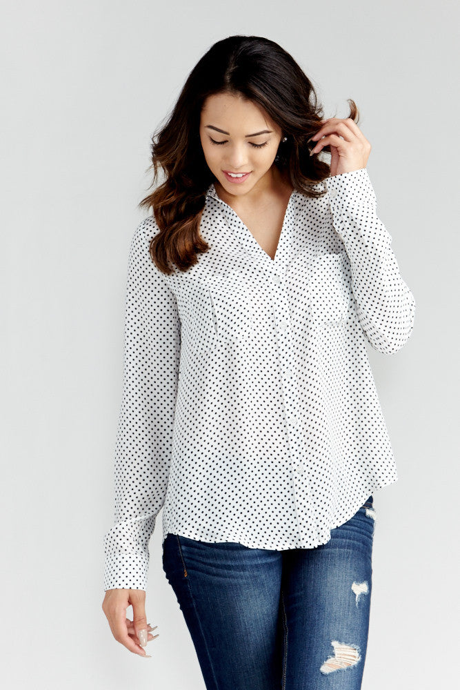 DAZZ: Polka Dot Office Blouse in White - Good Row Clothing  - 1