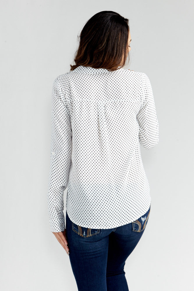 DAZZ: Polka Dot Office Blouse in White - Good Row Clothing  - 6