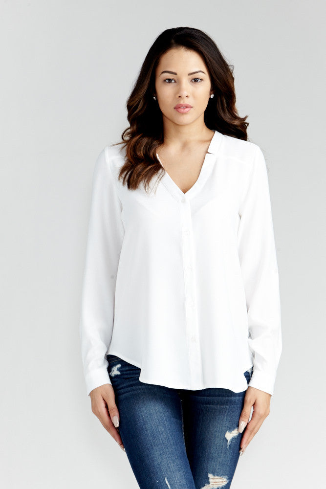 DAZZ: Modern Artist V-Neck Blouse in White - Good Row Clothing  - 3