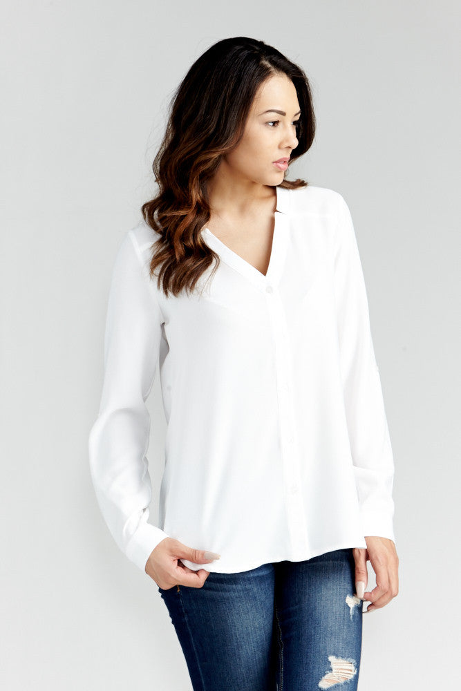 DAZZ: Modern Artist V-Neck Blouse in White - Good Row Clothing  - 1