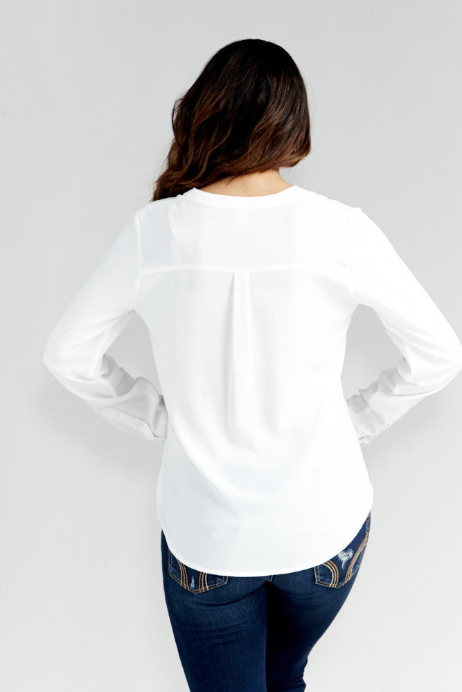 DAZZ: Modern Artist V-Neck Blouse in White - Good Row Clothing  - 8