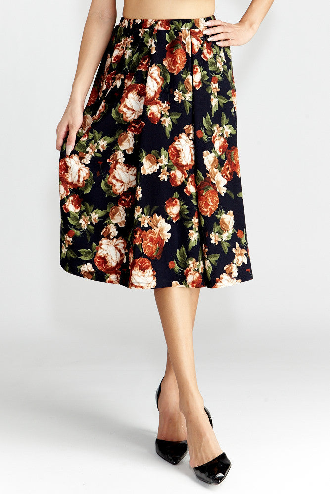 Le Lis: Floral Dance Midi Skirt with Pockets - Good Row Clothing  - 3