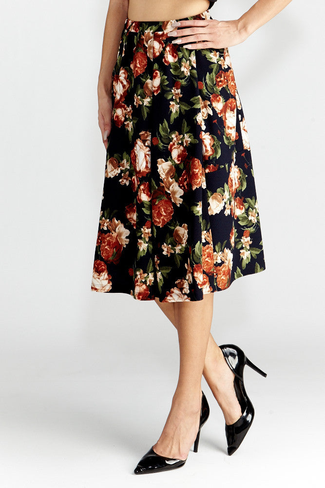 Le Lis: Floral Dance Midi Skirt with Pockets - Good Row Clothing  - 4