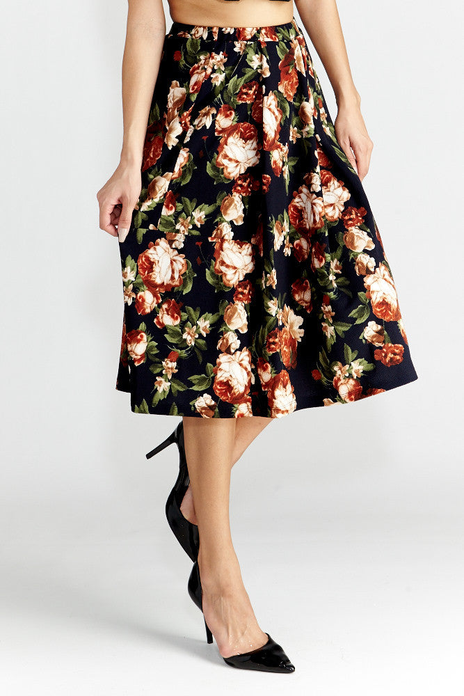 Le Lis: Floral Dance Midi Skirt with Pockets - Good Row Clothing  - 1