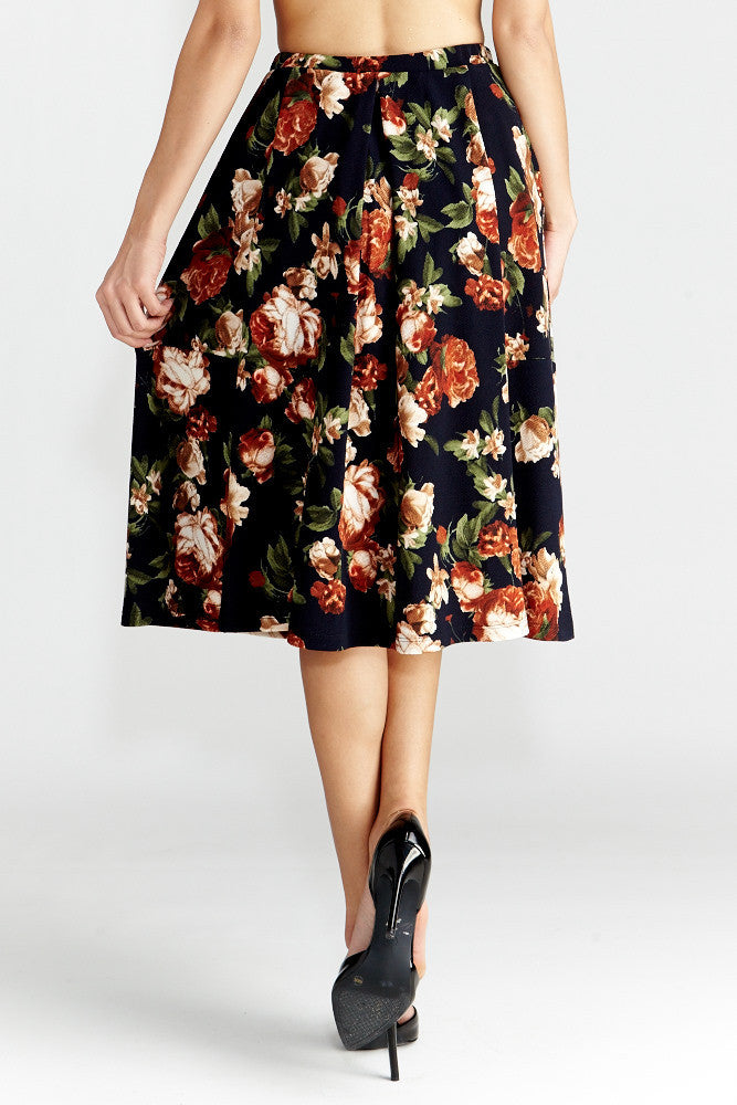 Le Lis: Floral Dance Midi Skirt with Pockets - Good Row Clothing  - 5