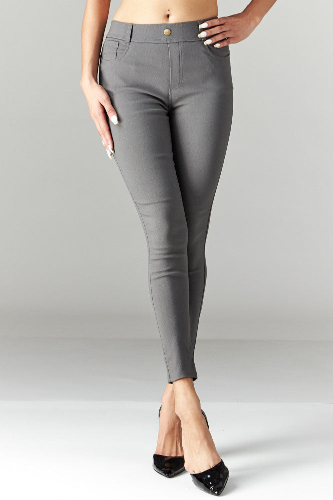 LARA: Solid Style Jeggings in Charcoal - Good Row Clothing  - 1
