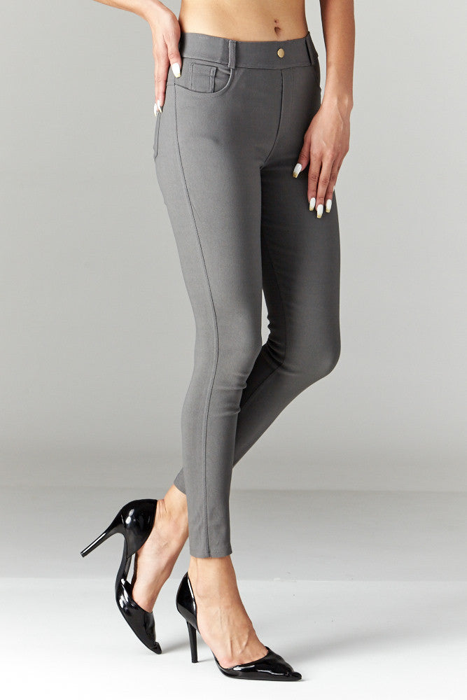 LARA: Solid Style Jeggings in Charcoal - Good Row Clothing  - 3