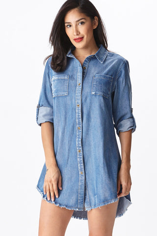 Fringed Hem Denim Tunic - Good Row Clothing  - 1