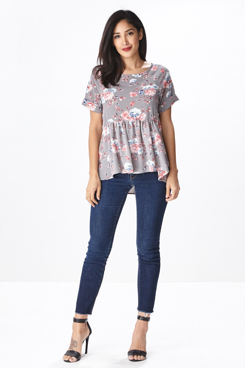 Trendsetter Peplum Top in Grey - Good Row Clothing  - 1
