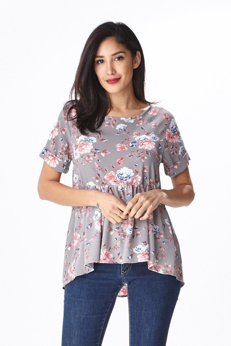 Trendsetter Peplum Top in Grey - Good Row Clothing  - 2