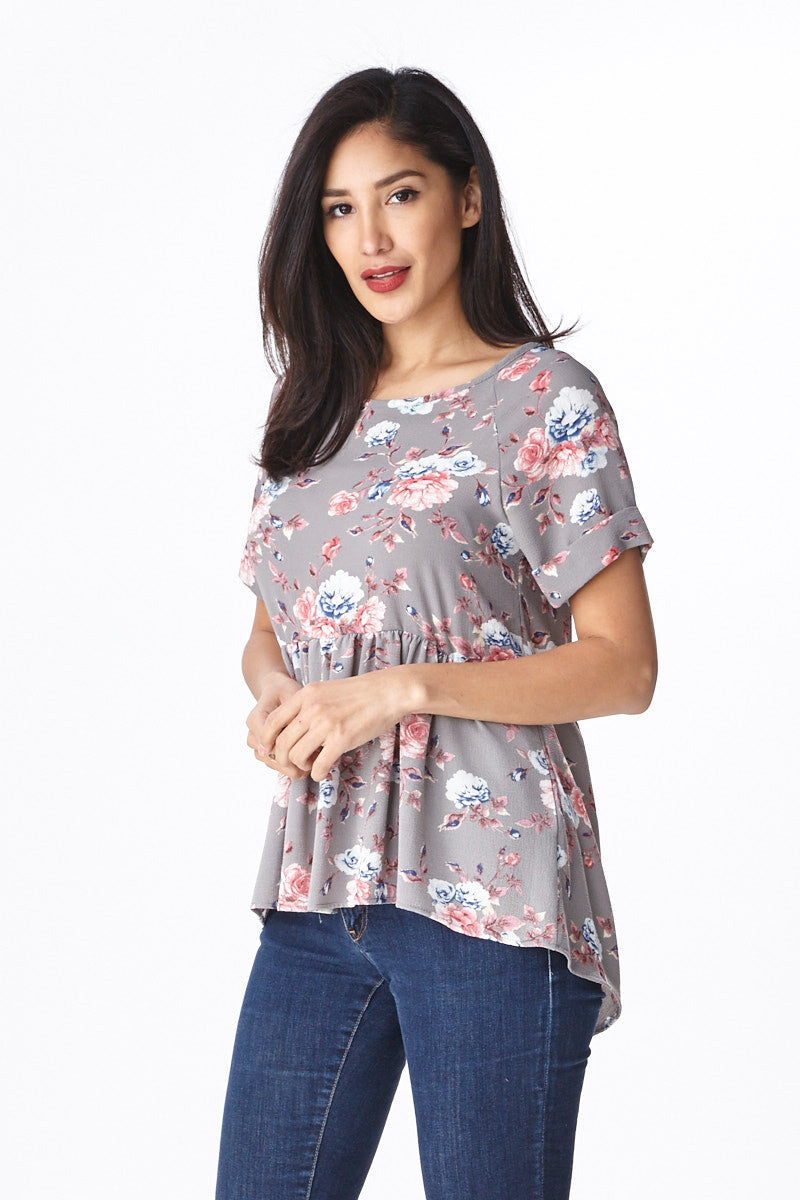 Trendsetter Peplum Top in Grey - Good Row Clothing  - 3