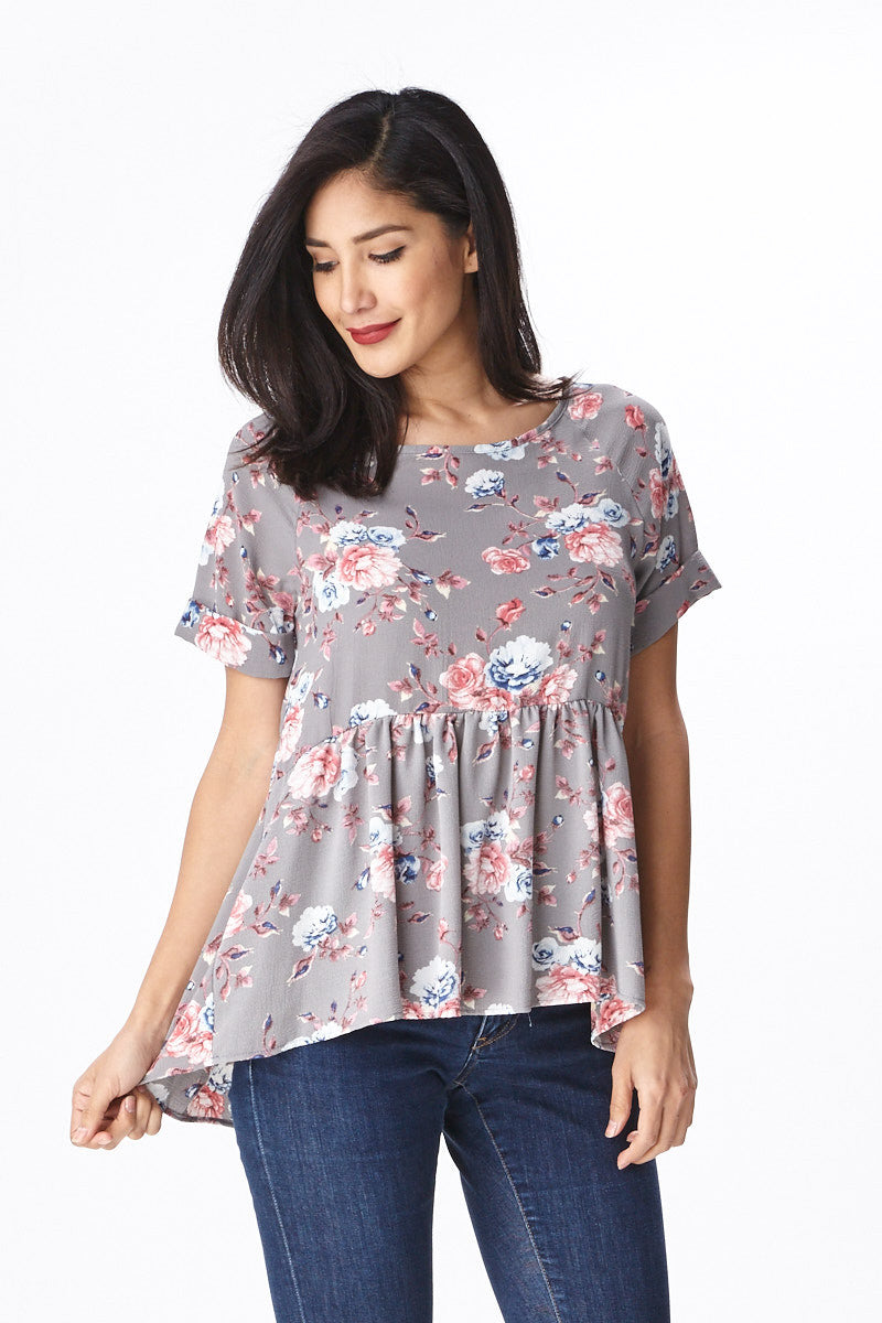 Trendsetter Peplum Top in Grey - Good Row Clothing  - 4