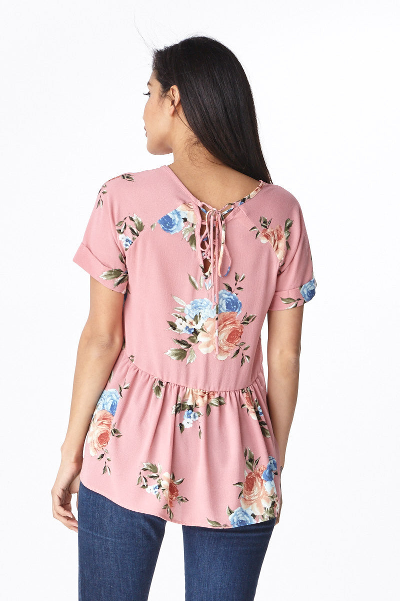 Trendsetter Peplum Top in Pink - Good Row Clothing  - 5
