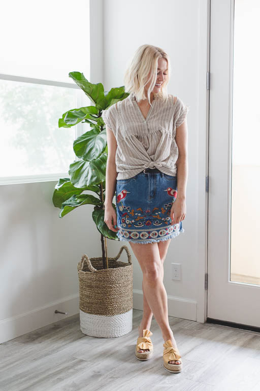 Fixed on You Embroidered Denim Skirt