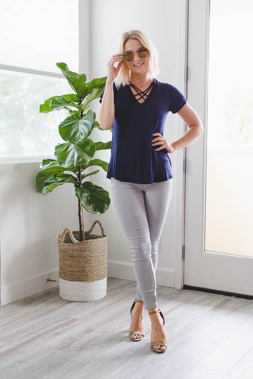 Double Crossed Top in Navy