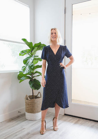 Everly: Soft Petals Midi Wrap Dress